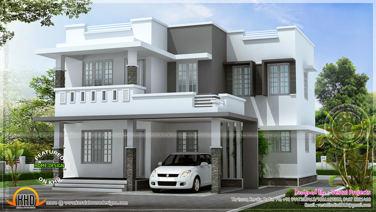 Simple beautiful house kerala home design and floor plans for Simple mansion