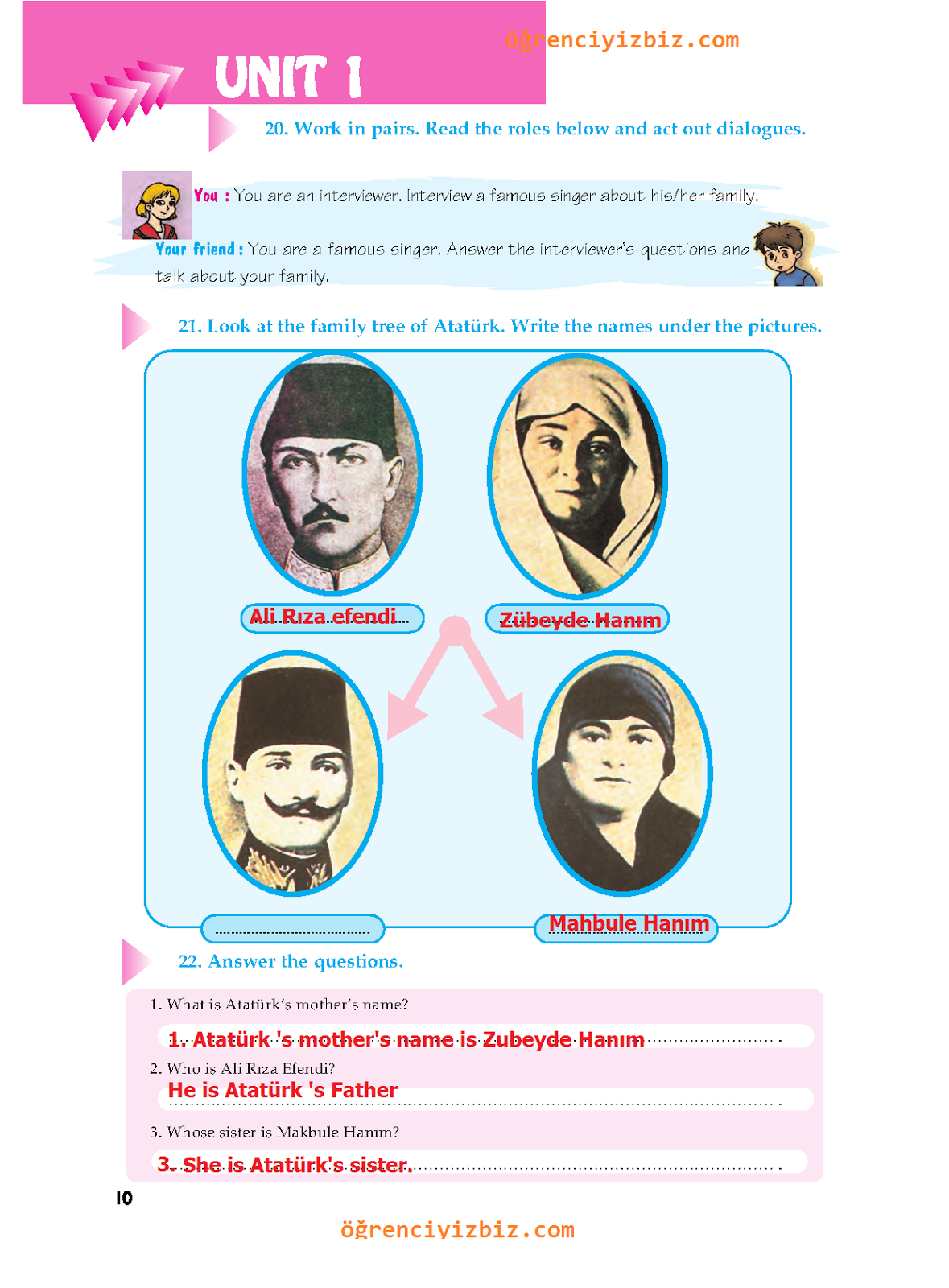 6.Sınıf İngilizce Ders  Kitabı -  Atlantik Yayınları Sayfa 10 Cevapları