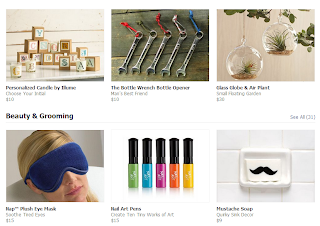 "Screencap of Facebook's Gifting page, featuring ""mustache soap""."