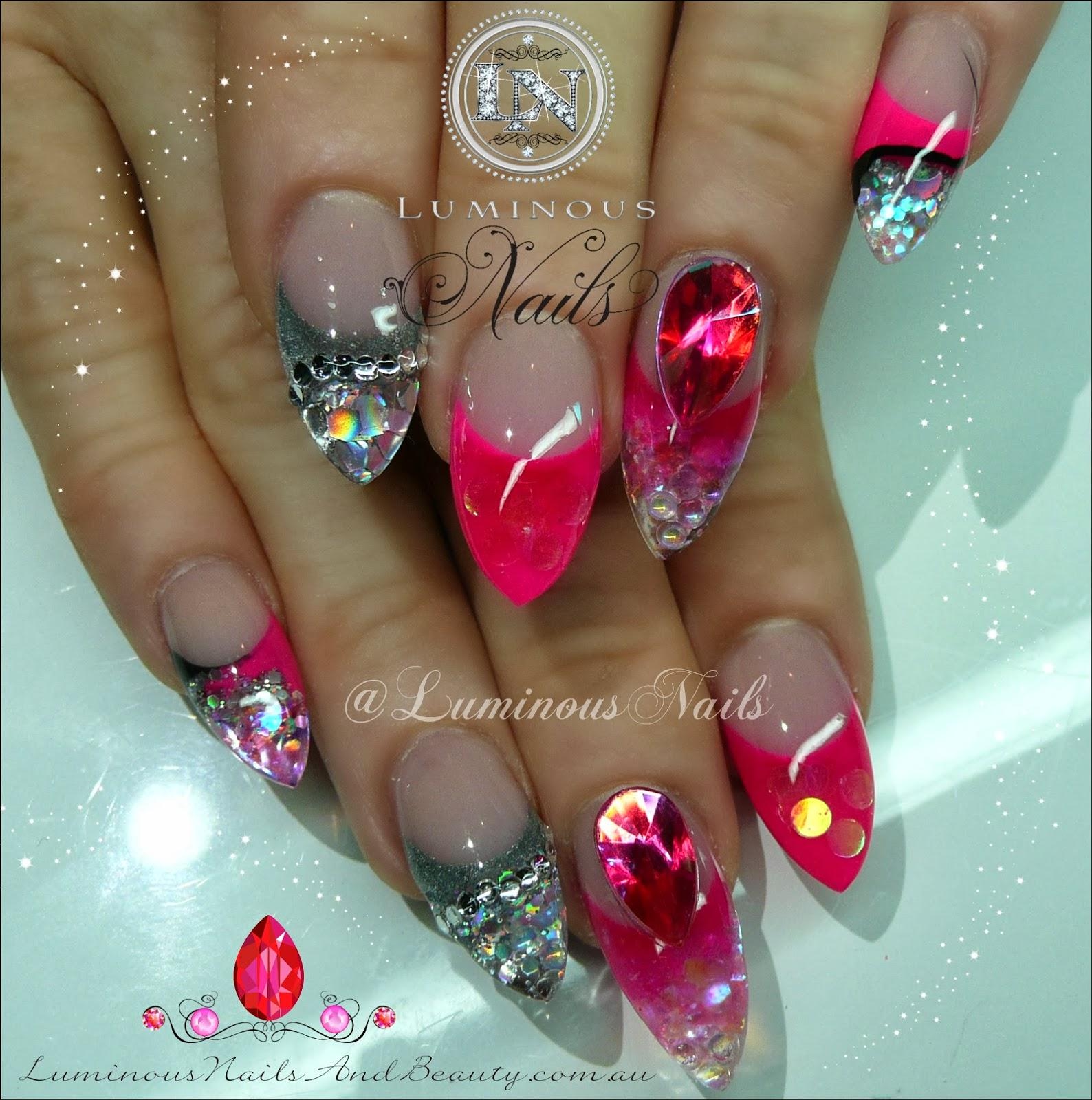 Hot Pink and Silver Nail Designs