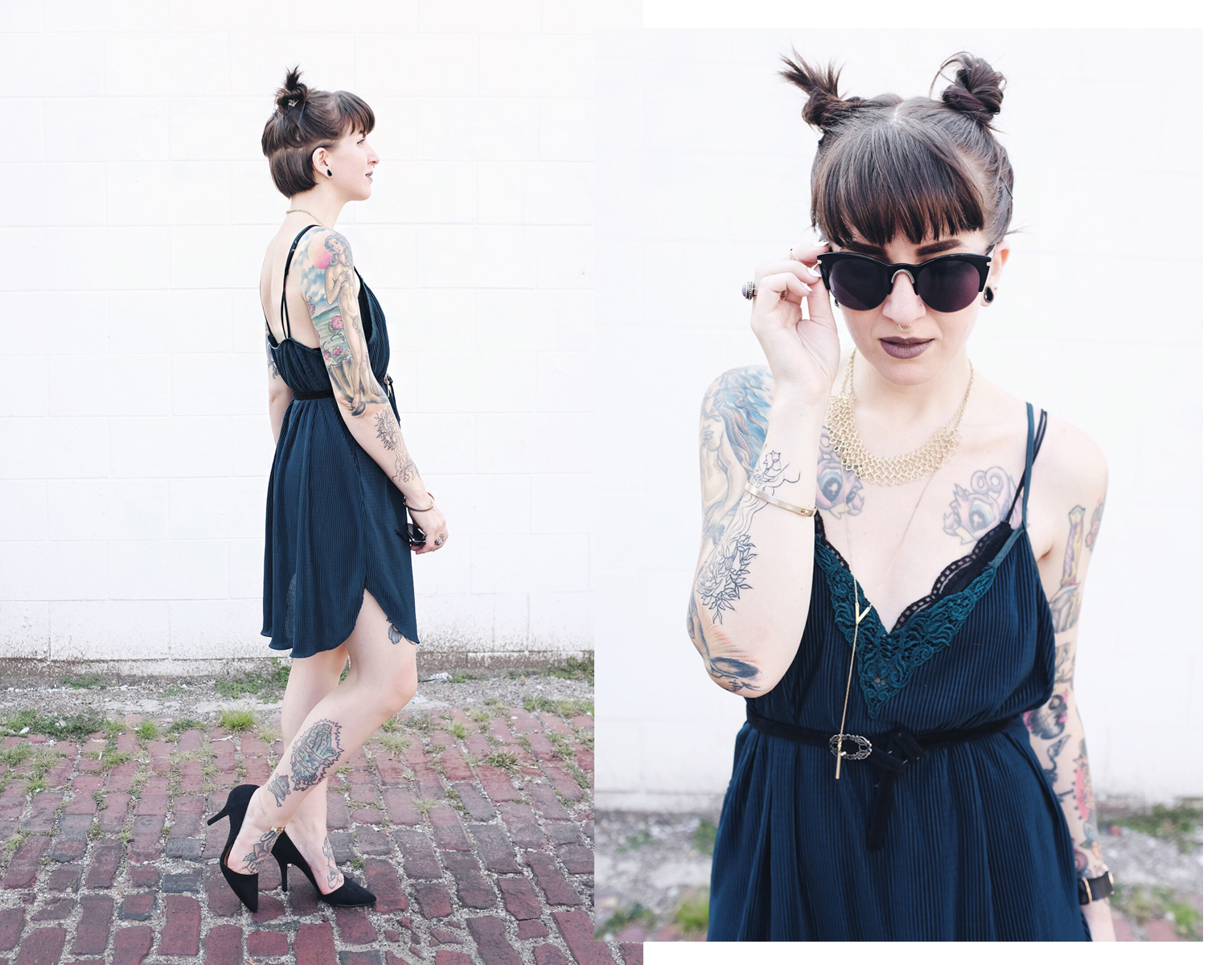 Green Vintage Slip Dress and Mini Hair Buns - Mini Penny Blog