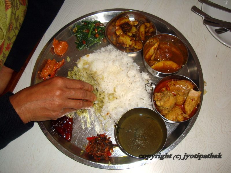 Enjoy the freshly cooked Nepali Daal-Bhat-Tarkari served with tempered ...