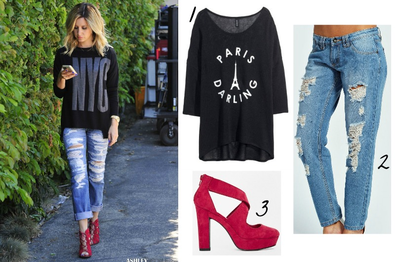 Ashley Tisdale Street Style Fall Fashion Outfits 2014 - Boyfriend Jeans, Red Shoes, Baggy Knit Jumper