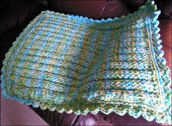 Loom Knitting Pattern For Baby Blanket : Knitting With Looms: Finished Baby Boy Stroller Blanket
