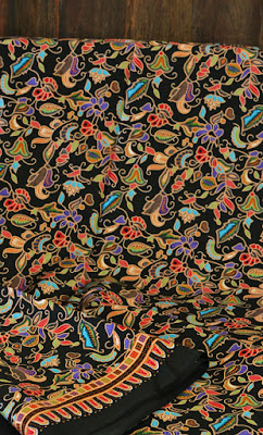 Singapore girl batik fabric black