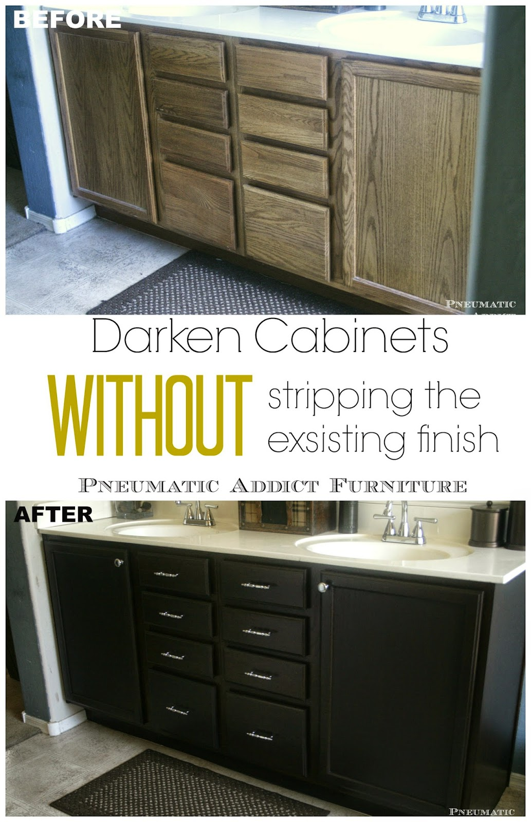 pneumatic addict : darken cabinets without stripping the existing
