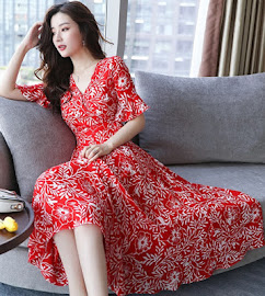 2017 Three Design Short Trumpet Sleeve Past Knee Length Chiffon Dress