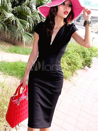 China Wholesale Clothes - Black Short Sleeves Cotton Blend Woman's Club Dress