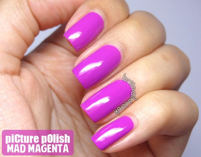 piCture pOlish Mad Magenta - Swatches and Nail Art | Brit Nails