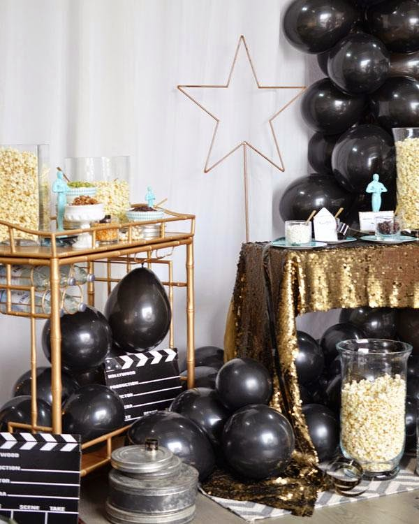 Popcorn Bar ideas for an Oscars viewing party; popcorn party