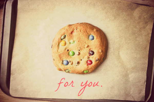 XXL Buttery Soft Chocolate Chip M&M Cookie… for one.