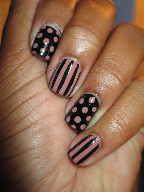 Klean Color Mocha, polka dots, stripes, black, nude, dusty rose, nail art, nail design, mani
