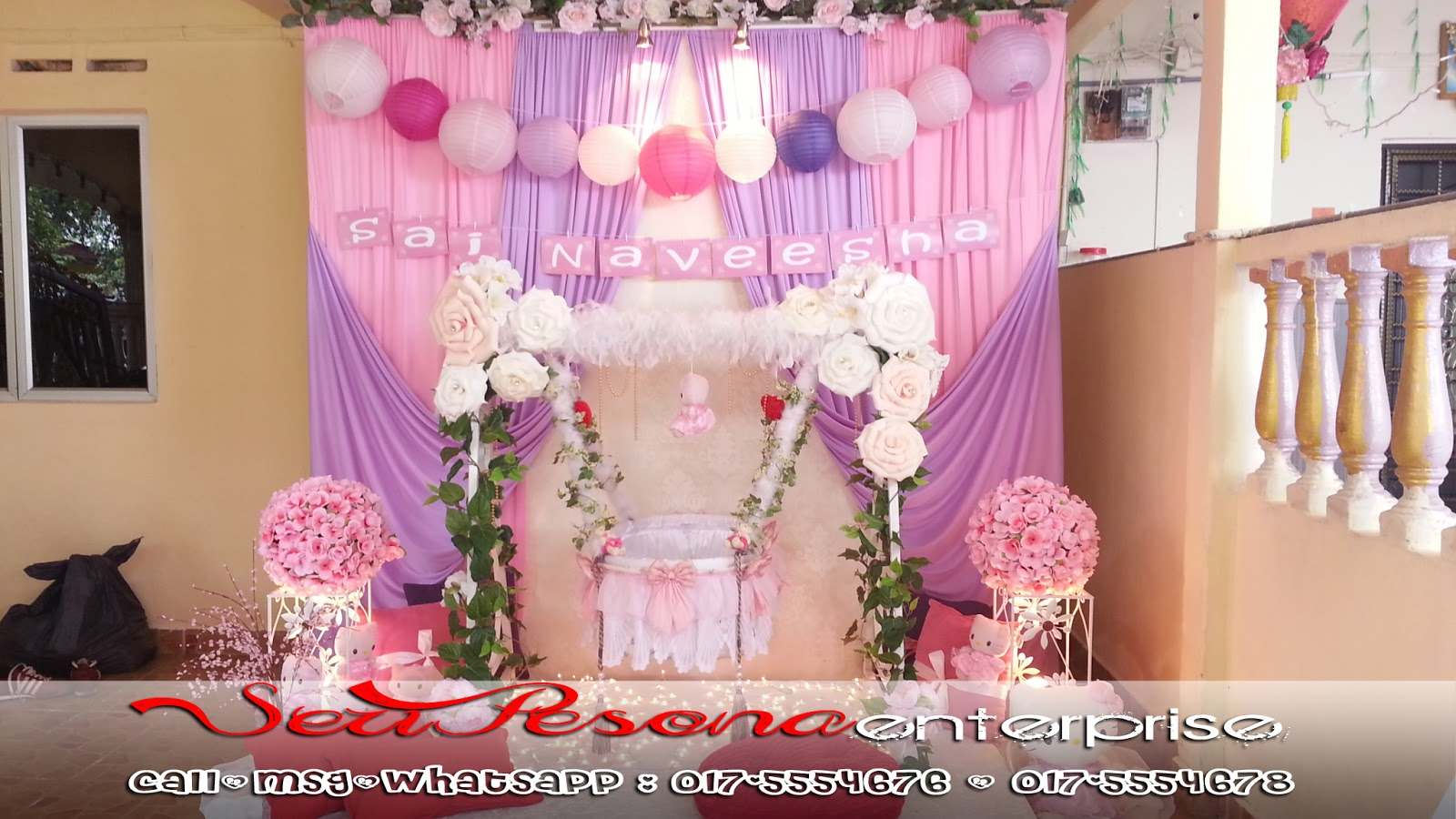 Pakej : Mini Pelamin Tema Pink Purple Hello Kitty