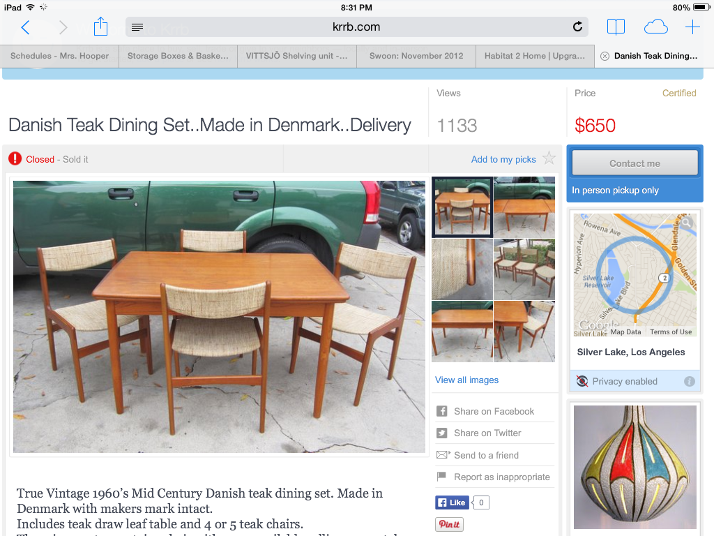 Danish Teak Dining Set Sold on KRRB.com for $650