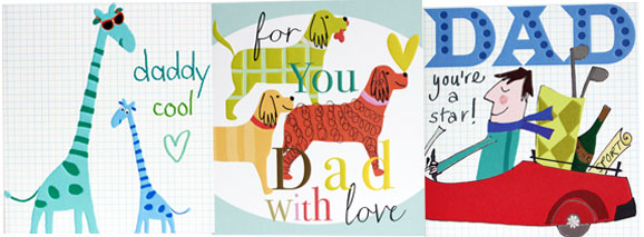 giraffes with glasses daddy cool dogs with hearts for you dad with love red car dad you're a star greeting cards father's day designers Liz and Pip Ltd