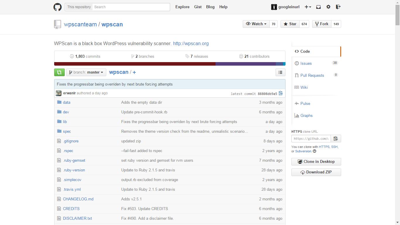 Github - https://github.com/wpscanteam/wpscan/ WPScan é uma Open Source black box scanner de vulnerabilidade WordPress Open Source.  WPScan é escrito em Ruby, a primeira versão do WPScan foi lançado no dia 16 de junho de 2011. Hoje WPScan é mantido pela Equipe WPScan e outros contribuidores Open Source. Se você gostaria de usar e / ou contribuir para WPScan você pode fazê-lo a partir do repositório