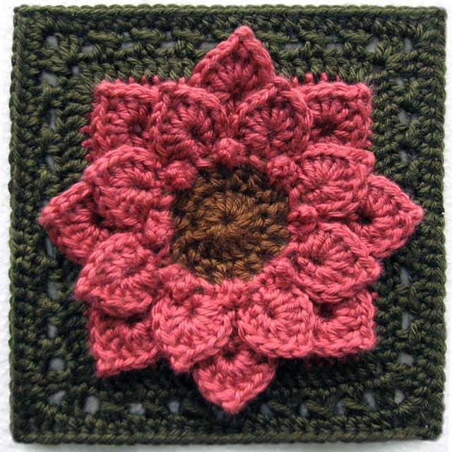 Crochet Flower Pattern Dahlia : Hooks and Yarn!: Crocodile Stitch Afghan Block