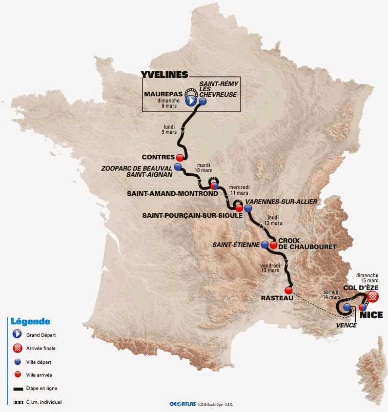 Route of 2015 Paris-Nice