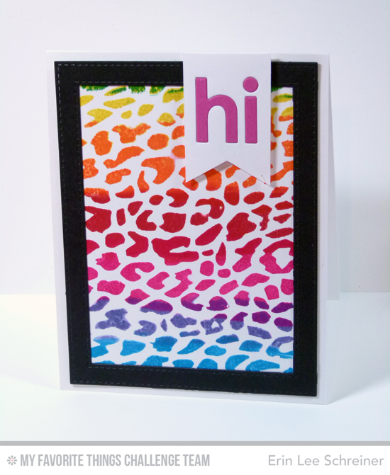 Animal Print Hi Card by Erin Lee Schreiner featuring the Cheetah background stamp and Happy Hellos Die-namics #mftstamps