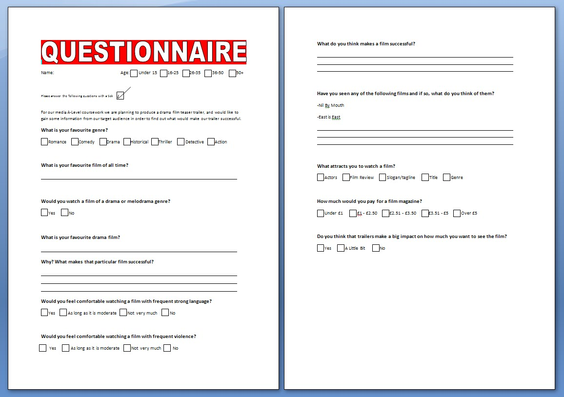 how to make a questionnaire They should be rather placed in the middle or towards the end of the  questionnaire make sure, however, not to put the most important item last, since  some.