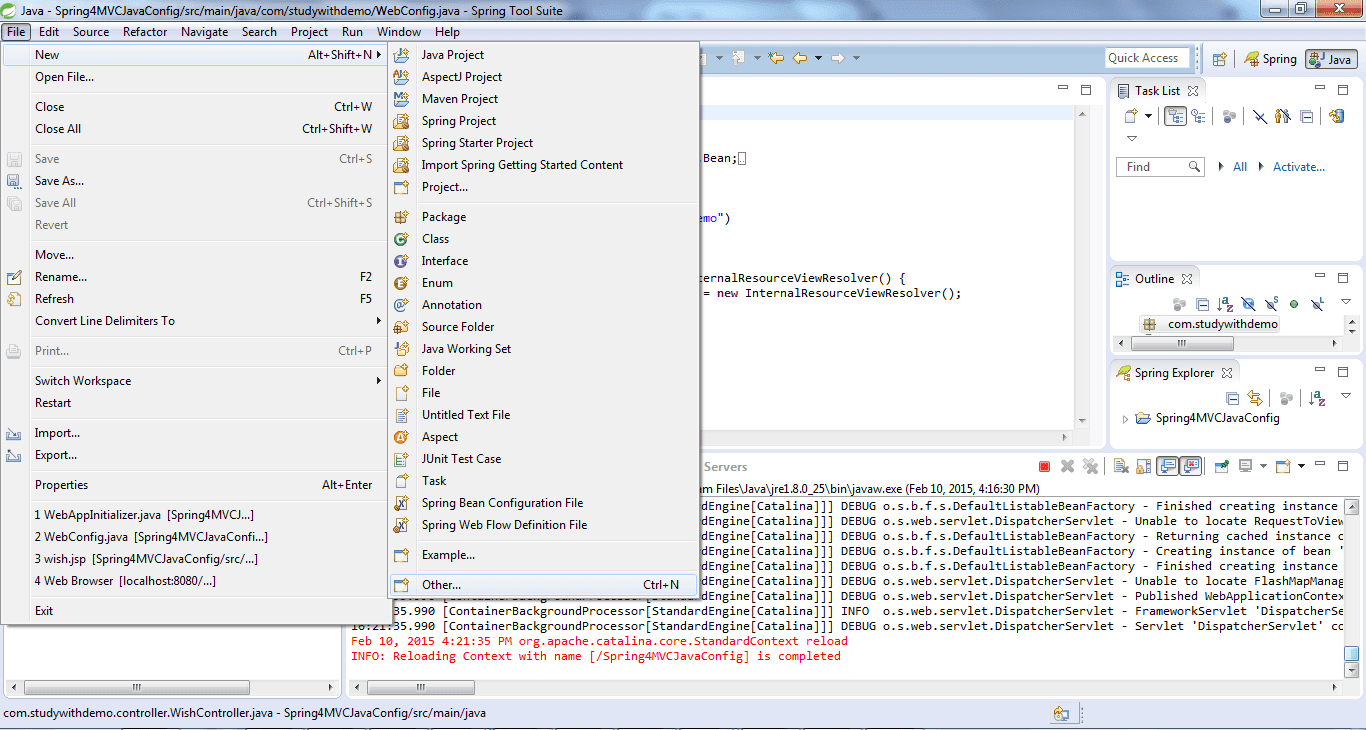 how to create spring bean configuration file in eclipse