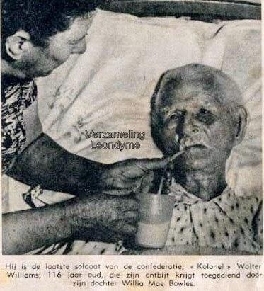 Kolonel Walter Williams, de laatste soldaat van de confederatie, hier op 116-jarige leeftijd. Ons Land van 11 april 1959