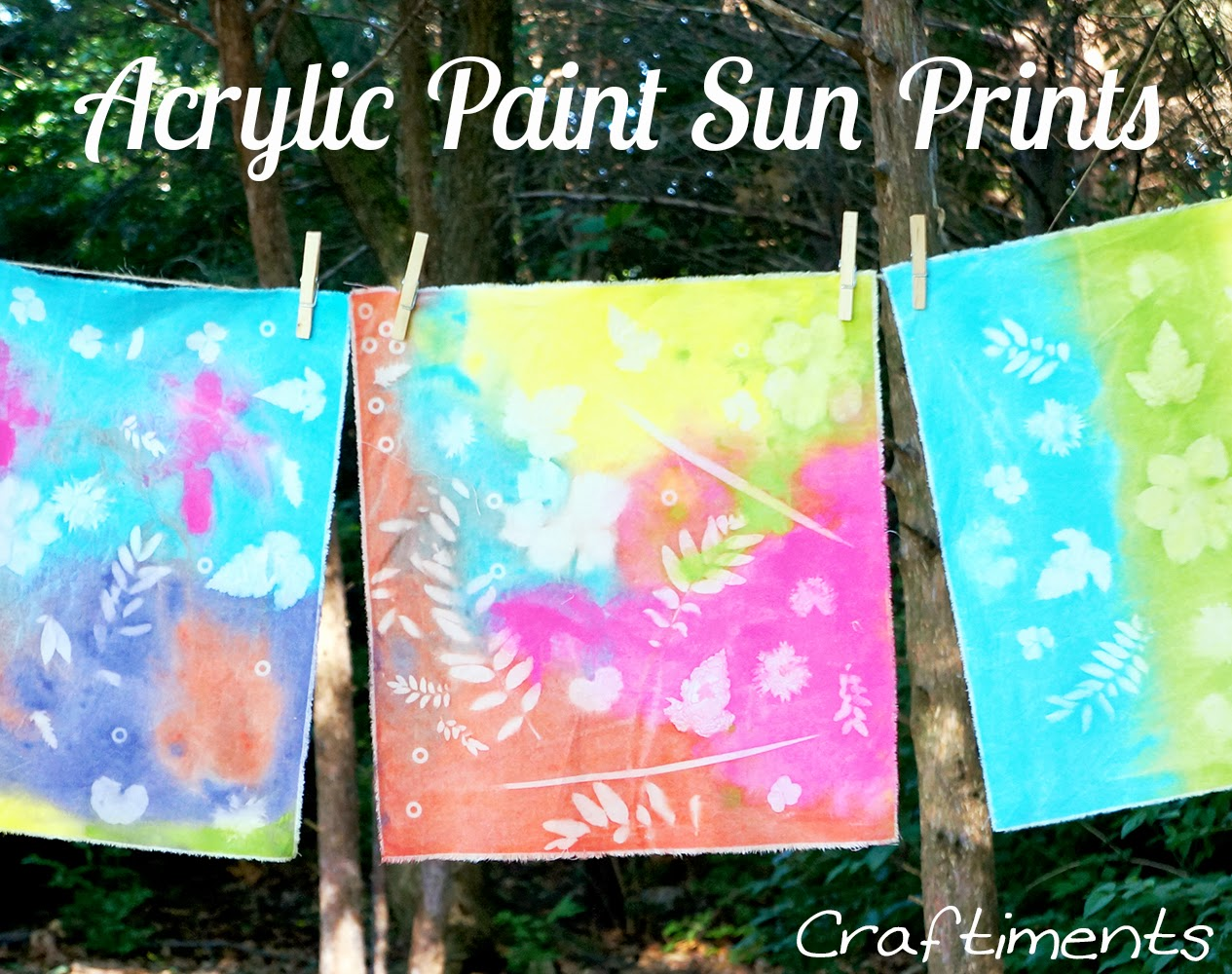 Craftiments:  Learn how to make faux sun prints on fabric using regular acrylic craft paint