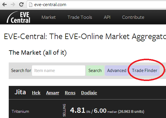 Marketsforisk how i use eve central to find new items to sell open eve central press the trade finder button as shown below malvernweather Image collections