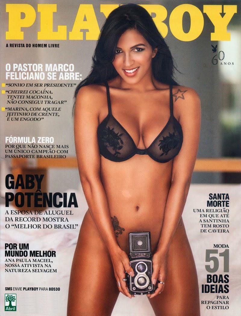 Confira as fotos da esposa de aluguel, Gaby Fontenelle, capa da Playboy de março de 2014!  Gaby Potência, Paulistana, 27 anos, Modelo, bailarina, atriz e humorista, Gaby está a oito anos trabalhando na emissora de televisão Record, atualmente trabalhando no programa O Melhor do Brasil, ao lado do apresentador Rodrigo Faro. No Programa O Melhor do Brasil, ficou conhecida pelo quadro Esposa de Aluguel, no qual era requisitada para dar um dia de alegria a um marido insatisfeito, o quadro não existe mais, mas Gaby continua brilhando ao lado de Rodrigo Faro aos domingo. Playboy - Capa: Gaby Potência, O Melhor do Brasil! - Edição Março 2014