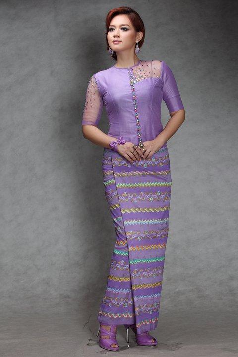 myanmar popular model and actress pearl win in myanmar fashion dress