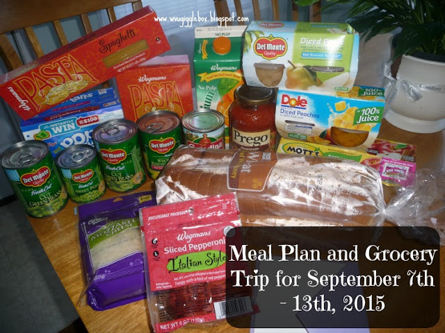 meal plans, grocery budget of $25.00 a week,