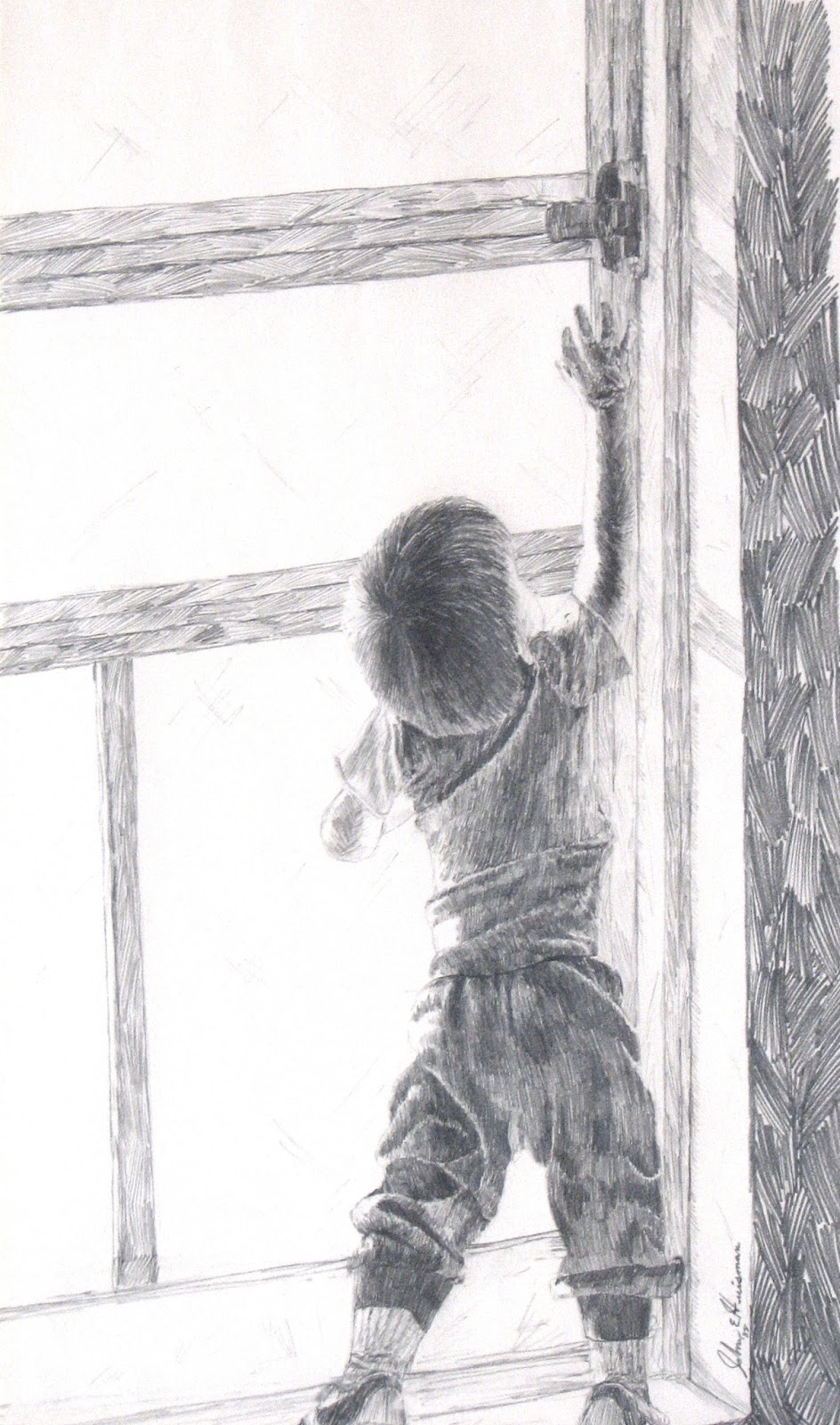 Door pencil drawing - Pencil Sketch On Paper Child Reaching By John Huisman Http