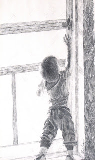 Pencil sketch on paper, child reaching, by John Huisman, http://huismanconcepts.com/