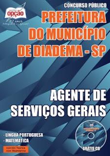 Apostila Concurso Prefeitura de Diadema 2015 para AGENTE SERVIÇOS GERAIS.