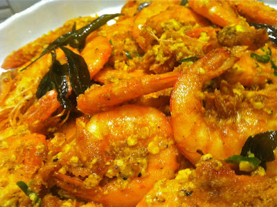 Shrimp, Deep-fried, seafood, Salted egg, duck egg,  Malaysian, dinner, spicy, creamy sauce