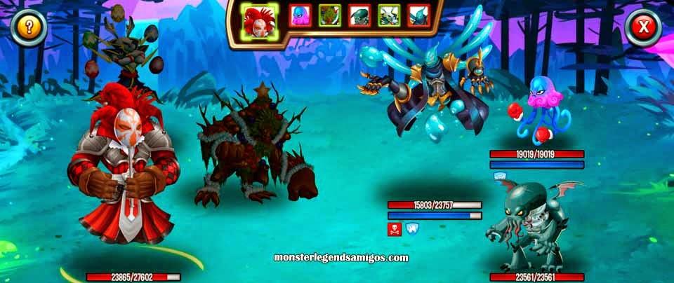imagen de las batallas de la mazmorra lucha azul profunda de monster legends