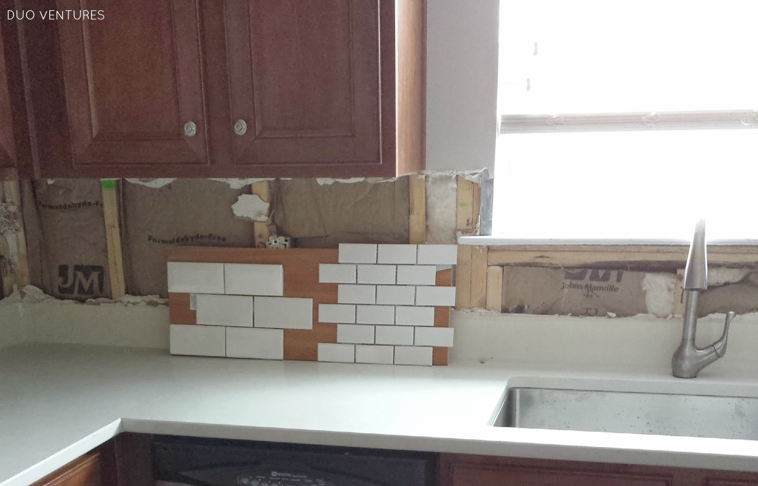 Large Tile Kitchen Backsplash Duo Ventures Kitchen Makeover Subway Tile Backsplash Installation