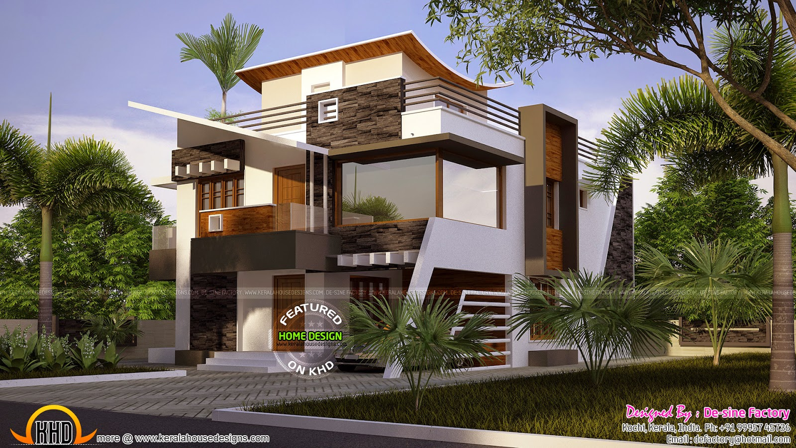 Floor plan of ultra modern house kerala home design for Contemporary home plans 2015