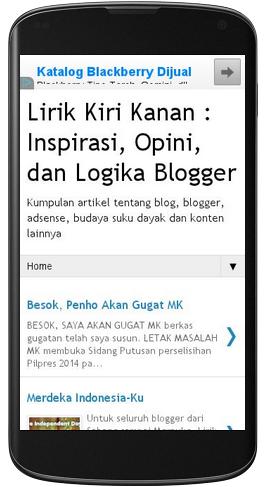 tampilan blog di selular