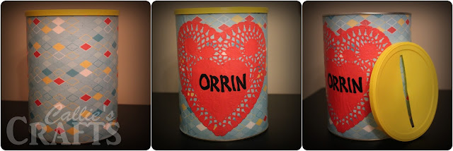Valentine Holder, Formula Can, Mod Podge, Paper Doile