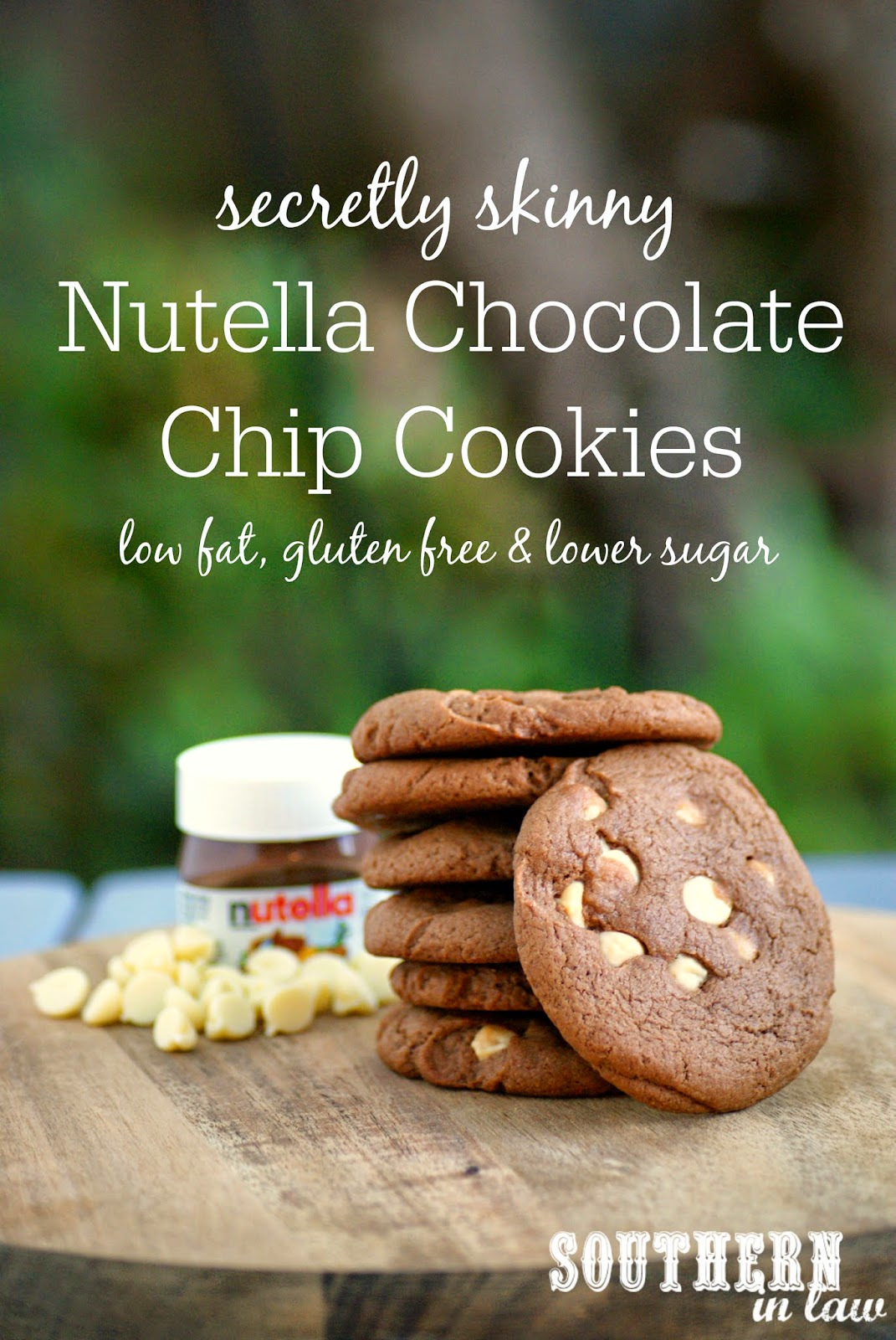 Secretly Skinny Low Fat Nutella Chocolate Chip Cookie Recipe - low fat, gluten free, lower sugar