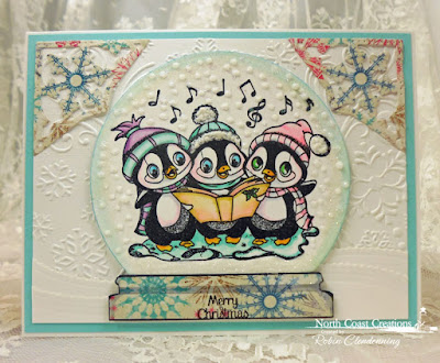 North Coast Creations Stamp set: Caroling Penguins, Our Daily Bread Designs Custom Dies: Fancy Ornaments, Leafy Edged Borders