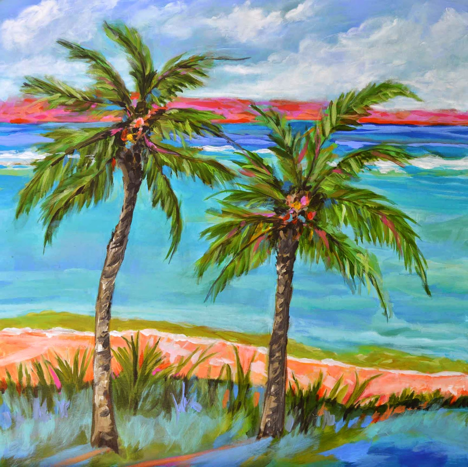Palm tree beach painting by karen fields 30 x 30 for Painting palm trees