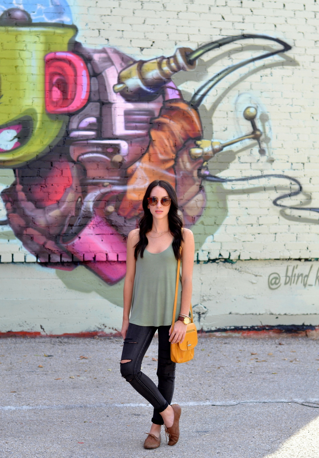 Loose Olive Tank, Distressed Black Jeans