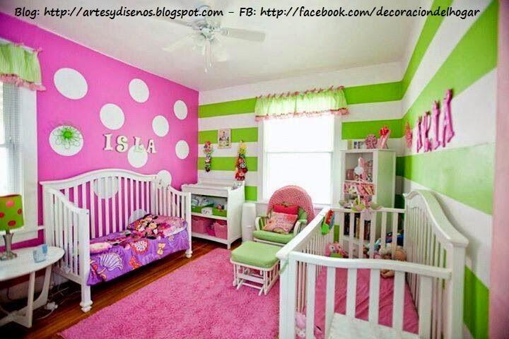 Dormitorios infantiles con circulos en las paredes - Formas de pintar una casa ...