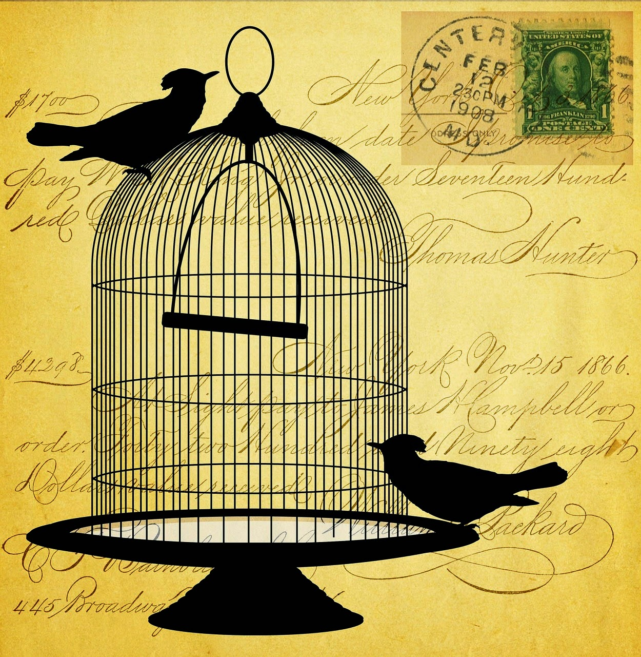 Caged Birds Vintage Creative Blocks