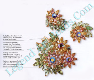 Multicolour Floral Spray Pin & Earrings, early 1950s