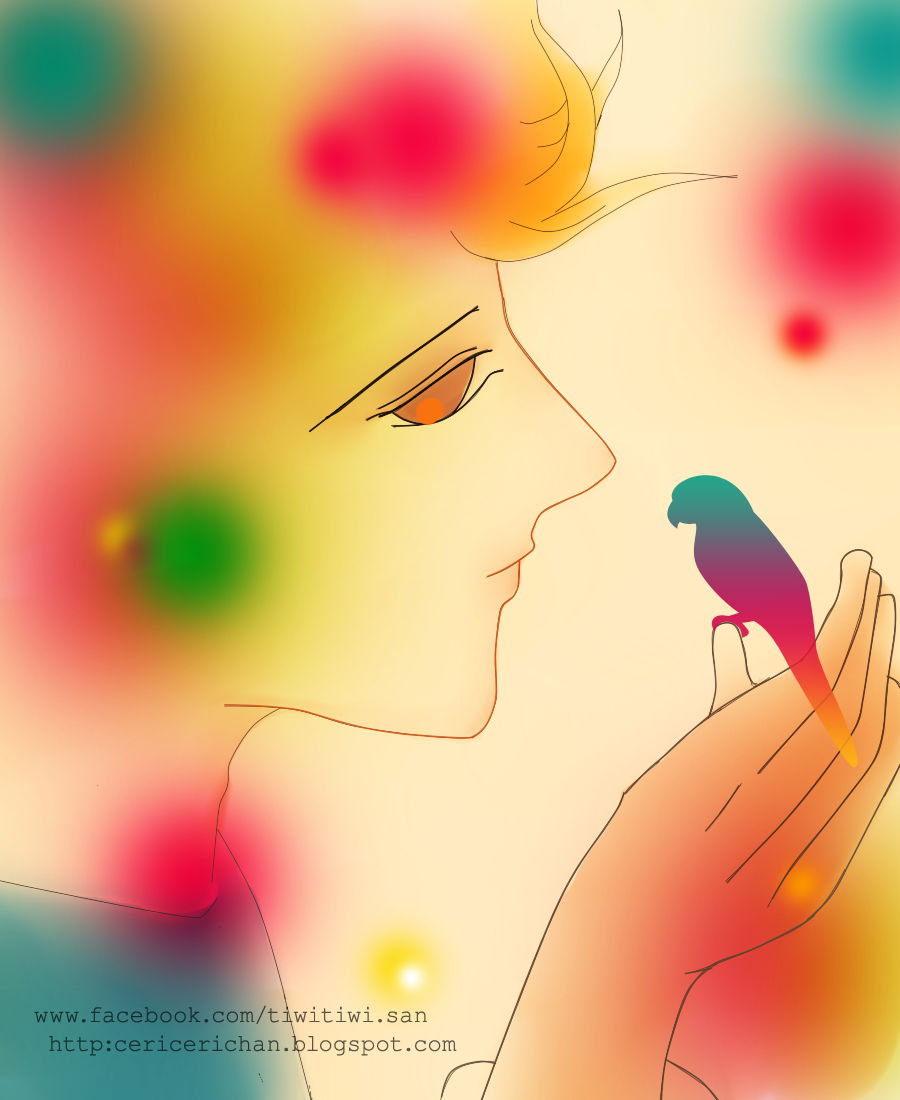 boy, bird, wallpaper, cute, paint tool SAI, love, care
