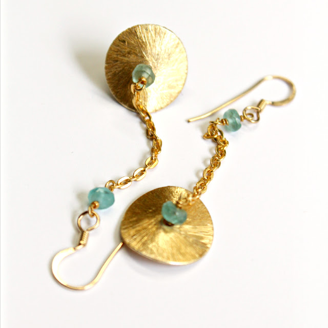 texture gold disc, chain, and apatite gemstone dangle earrings - catherine masi