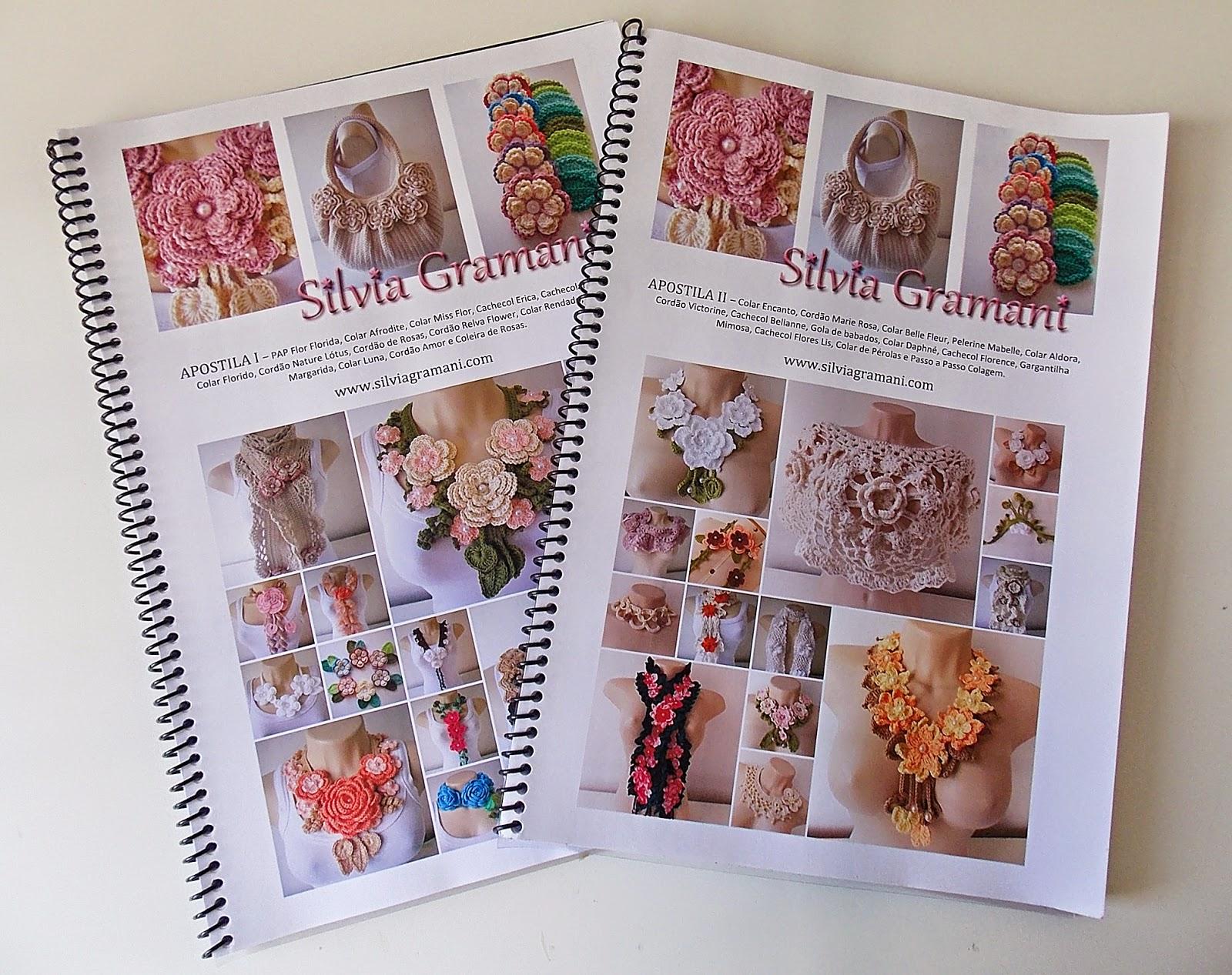 Apostila de colares com flores de crochê